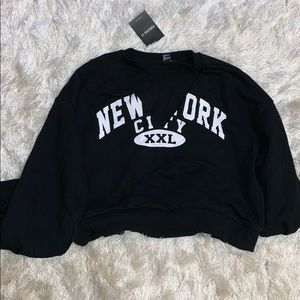 NY Cut-Out Cropped Sweatshirt